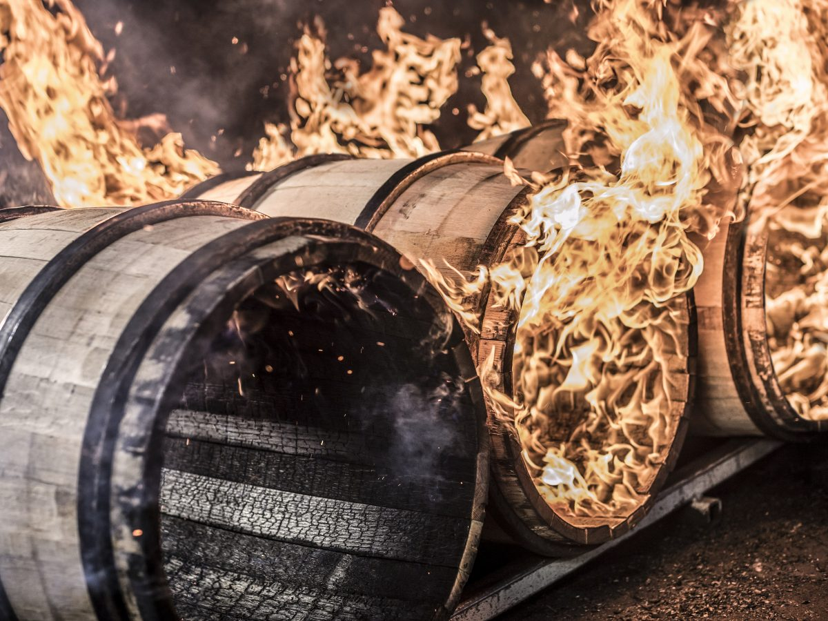 Barrels being charred at ISC