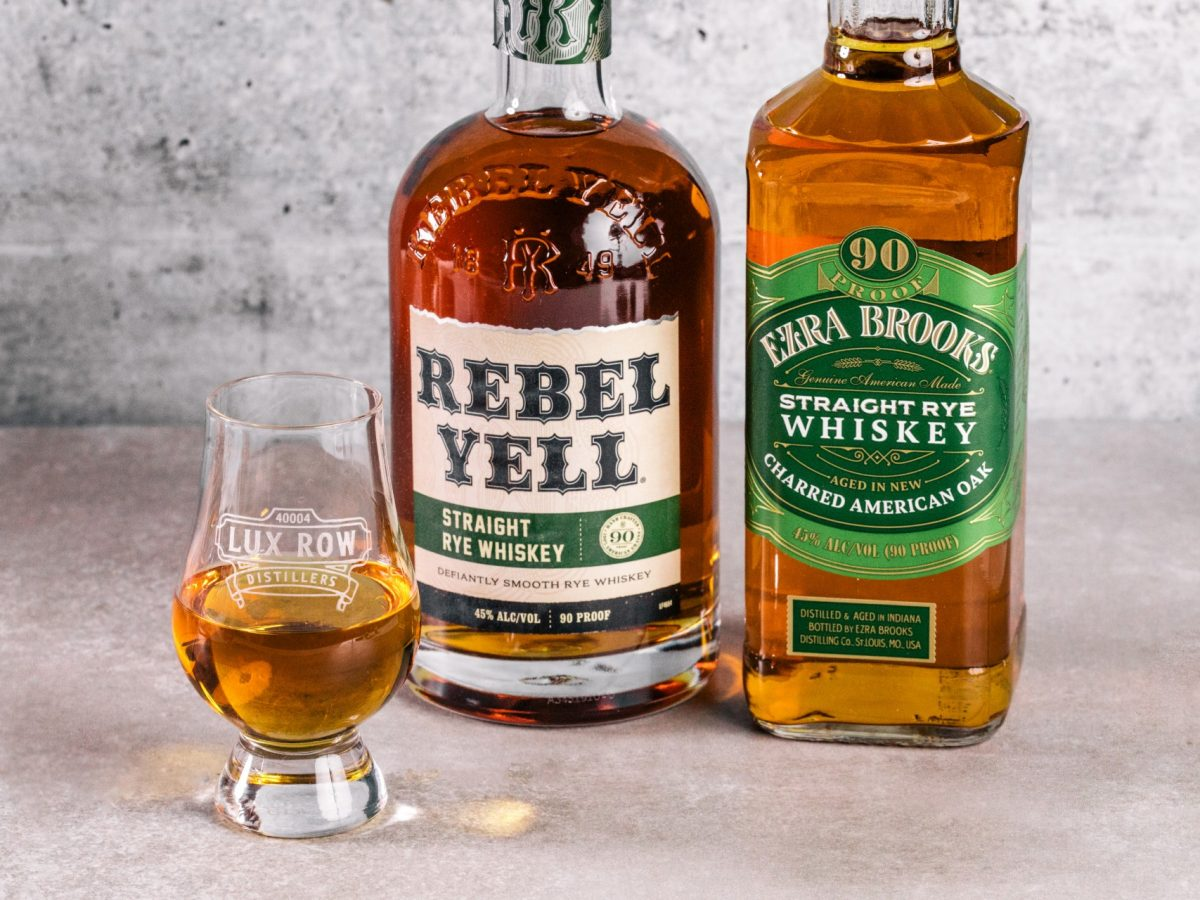 Rebel Yell and Ezra Brooks straight rye whiskey